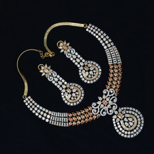 American Diamond necklace set with Topaz and Clear stones cubic zirconia jewellery