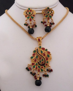 Antique Gold plated necklace with pendant embedded with red and green stones-16ATQP