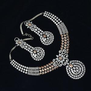 American diamond necklace with topaz stones