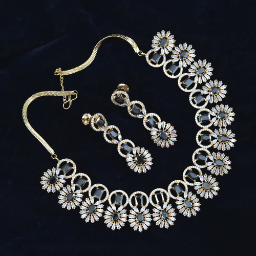 American Diamond necklace Indian wedding jewelry necklace with black stones