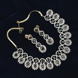 American Diamond necklace Indian wedding jewelry necklace with black stones.
