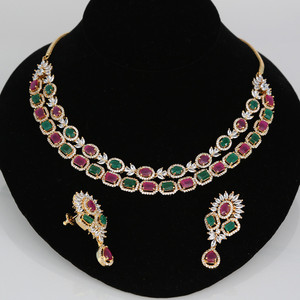 Indian CZ AD Two layer Bollywood Fashion Party Necklace Set
