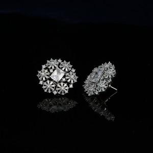 Cubic zirconia stud earrings | Silver zirconia earrings in floral designs.