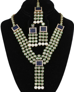 Sapphire Blue Meenakari work Indian Bollywood Gold Plated White Pearls Kundan Polki Necklace Set
