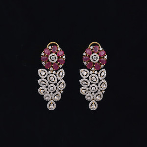 luxury crystal Earrings 18K gold tone Grape shaped with ruby stones.