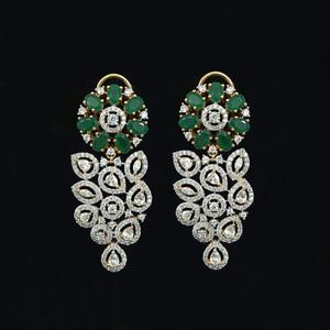Emerald stone earrings , 1gram gold beautiful designed earrings.