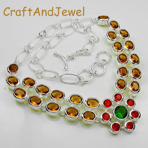 925 Silver Fashion multistone necklace  Jewelry
