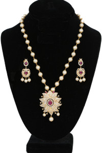 Flowery design single strand Round Pearl Beaded Pendant with Ruby and Clear stones