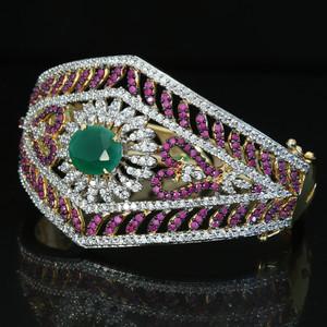Ruby CZ AD kada broad wedding bracelet