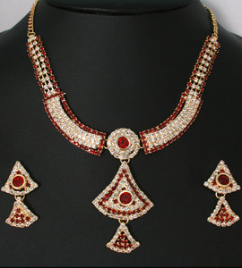 Indian Costume Fashion Jewellery with Siam Red and Clear cubic zirconia stones