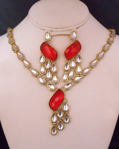 Red Indian Bollywood Kundan Bridal Wedding Jewelry Set