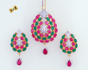Royal gold plated floral designed Ruby Emerald pendant Earrings fashion jewellery