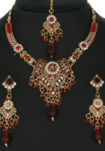 Indian designer Bridal jewelry necklace set with Siam Red,Topaz and Clear cubic zirconia stones