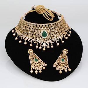 Indian Bollywood AD pearl wedding Bridal fashion jewelry set.