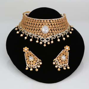 18KT Gold plated Gold plated Wedding bridal jewelry decorated with clear stones