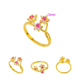18K gold plated ring size 6 with magenta color flower CZ zircon stone