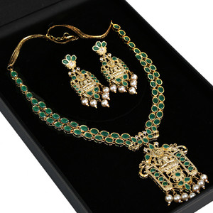 Long Gold plated Kundan necklace set with green stones