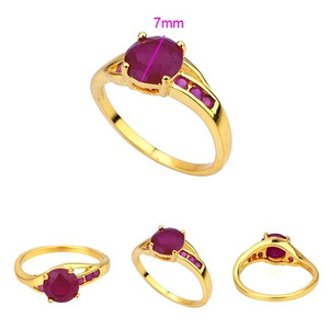 18K gold plated ring with fuchsia color CZ zircon stone