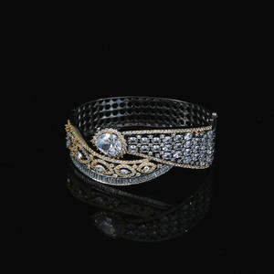 14K Gold Silver Lab American Diamond Bracelet Costume Jewelry with White stone