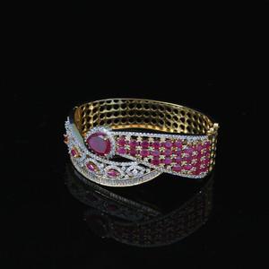 Indian Bollywood Zircons Made Bracelet Gold Tone Ruby American Diamond Jewelry
