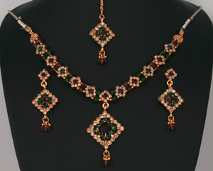 Fashion trends gold plated jewelry with multi colored CZ and beads necklace