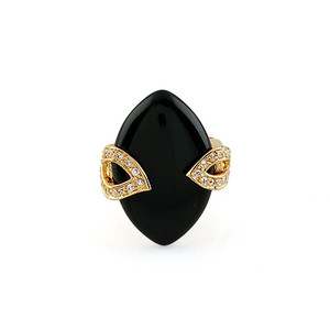 18K Gold plated with Large Marquis shaped Black Stone Ring