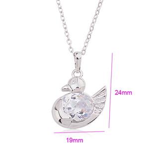 CZ Bird Pendant Rhodium plated fashion jewelry
