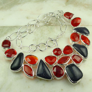 925 silver fashion handcrafted jewelry necklace with night stars sun sitar red quartz gemstone