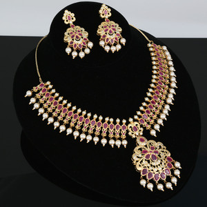 Gold tone royal Indian bollywood Ruby stones grand bridal jewelry