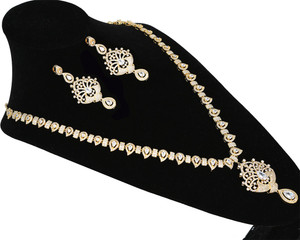 CZ American Diamonds Pear White stones Bridal Indian Jewelry Wedding Long South Necklace Set