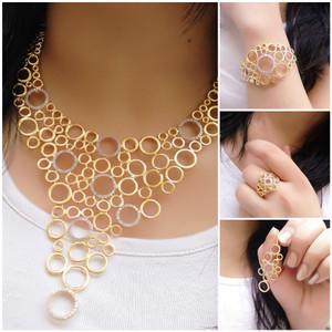 Heavy wedding gold polish royal choker necklace