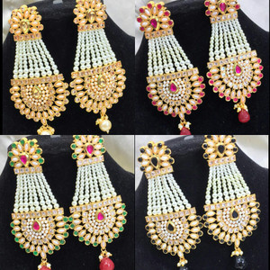 Pearl chandelier kundan handmade earrings