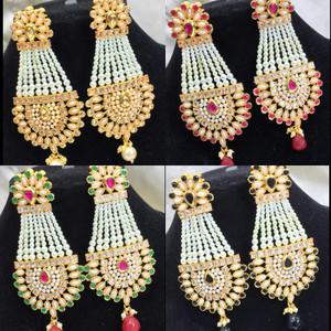 Pearl chandelier kundan handmade earrings