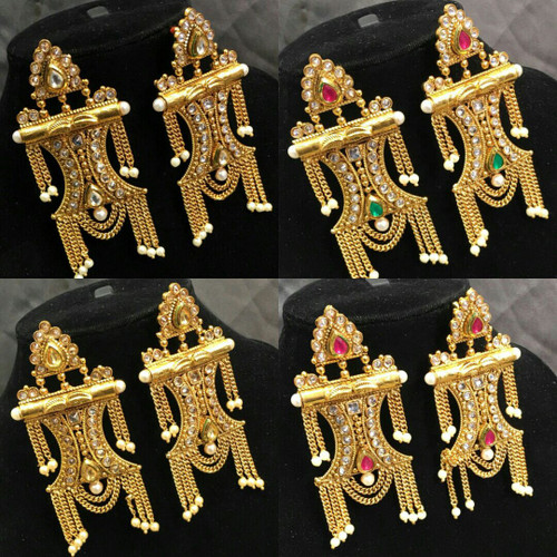 Bollywood Inspired Pearl Kundan Stone Chandelier handmade Earrings