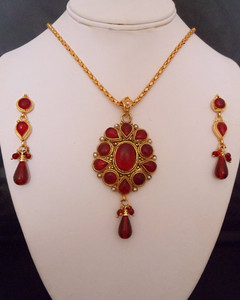 Antique flowery designed pendant with Red and Imitation Pearls-11ATQP