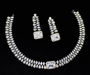 Clear crystal Indian choker necklace jewellery set