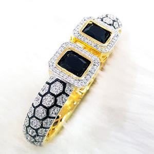 22K gold meenakari bangles bracelet with black kundan stone