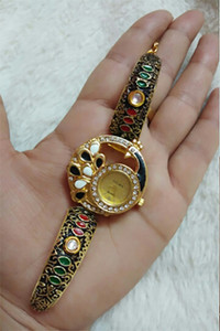 Black and golden color meenakari work designer bracelet watches for women