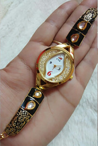 Black and golden color meenakari work Rhinestone bracelet wrist watches for women