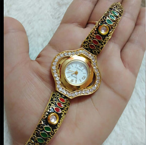 Indian ladies meenakari bracelet watch with clear rhinestones ethnic jewelry