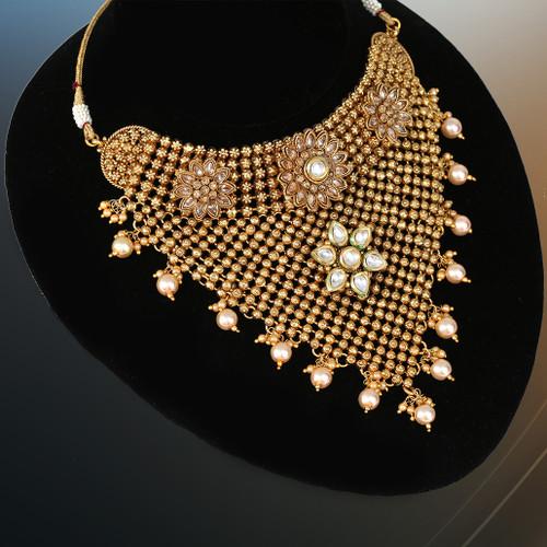 Handmade choker Gold Plated Kundan Necklace Set