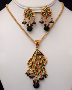 Antique Gold plated necklace with pendant embedded with green and red stones-18ATQP