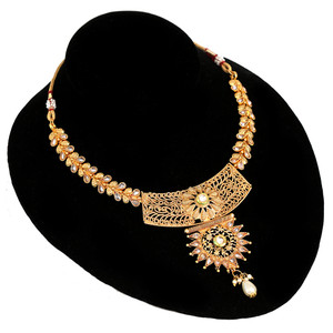 Clear Stone Studded Choker Necklace Jhumka Earrings