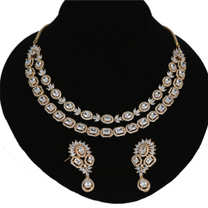 High quality cubic zirconia Bollywood fashion wear two stone line necklace set