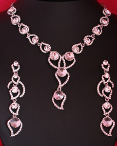 Rare fashion design Silver plated Necklace and matching earring with CZ stones