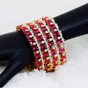 22K Gold Bangles Indian Designs Pink and White Cubic Zirconia