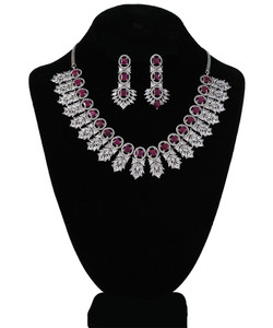 Pink Ruby Clear Crystal Rhinestone Designer Necklace for Girls