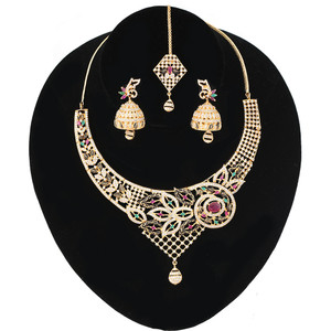 Gold plated Light Weight Necklace Jhumka Earrings