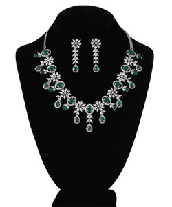 Emerald Green and CZ American Diamonds Rhodium Plated Ad Stone Necklace Set