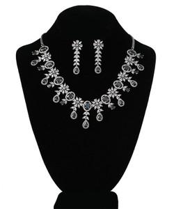 Black and CZ American Diamonds Rhodium Plated